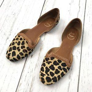 Jack Rogers D'orsay Leopard Calf Hair Flats Sz 9.5